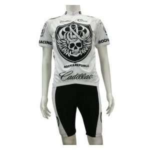 Rock Racing Cadilac G003 White Skull Short Sleeves Cycling