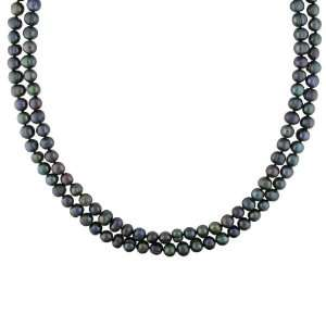 7 8mm Black FW Pearl Endless Necklace, 64 Jewelry