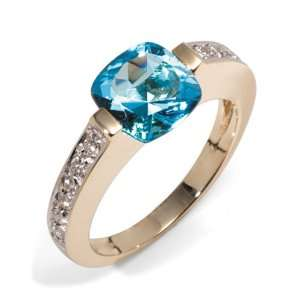 Gold Floating Blue Topaz (8x8mm) and Diamond Ring, Size 7 Jewelry