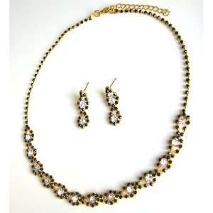 Wedding Bridal Prom Black Crystal Rhinestone Necklace Earring Set 01