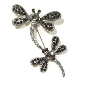 Rhinestone Mother and Child Dragonfly Antique Silver Plated Brooch Pin