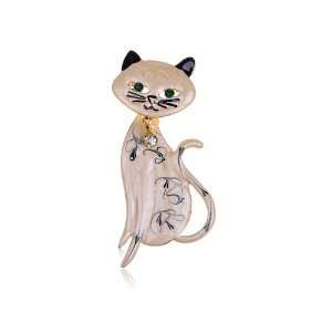 Hand Paint Enamel Rhinestone Bowtie Bobble Head Kitty Cat Pin Brooch