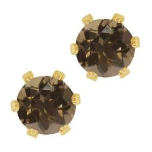 Brown Smoky Quartz Gold Plated 6 prong Stud Earrings 6mm Jewelry