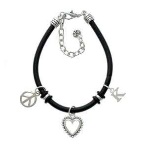 Small Silver Initial   K Black Peace Love Charm Bracelet