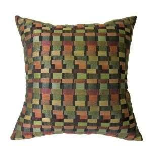 18x18 Green Purple Pink Bricks Woven Decorative Throw Pillow Cover