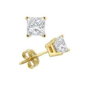 Princess Cut Cubic Zirconia Earrings Gold and Diamond Source Jewelry