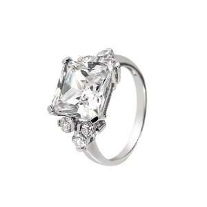 Sterling Silver Cubic Zirconia Cocktail Ring Size 8