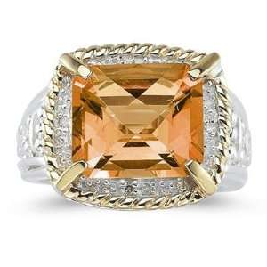 Emerald Cut Citrine and Diamond Ring in 14K Yellow Gold