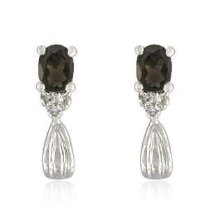 Sterling Silver Oval Shaped Smoky Quartz Earrings Jewelry