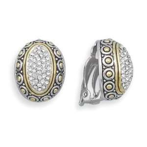 Sterling Silver, 14 Karat Gold Plated and CZ Clip On Earrings Jewelry