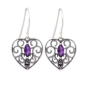 Sterling Silver Marcasite and Amethyst Heart Drop Earrings Jewelry