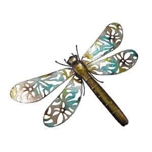 Brown / Teal Metal Dragonfly Wall Hanging 21 X 15