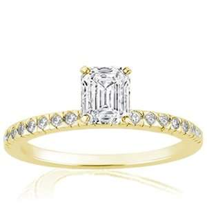 1.15 Ct Emerald Cut Petite Diamond Engagement Ring Bezel