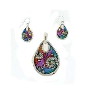 Fashion Jewelry ~ Multi Color Teardrop Pendant and Earrings