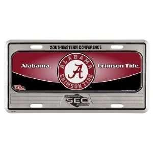 Alabama Crimson Tide Metal License Plate   Domed