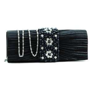 Black Pleated evening bag clutch w/ rhinestone & pearl accented flap