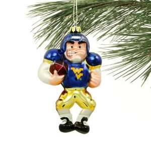 West Virginia Mountaineers Angry Football Player Glass Ornament