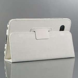 White / PU Leather Stand Case / Cover / Skin for Samsung Galaxy Tab