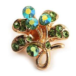 Tiny Light Green Crystal Clover Pin Brooch (Gold Tone) Jewelry