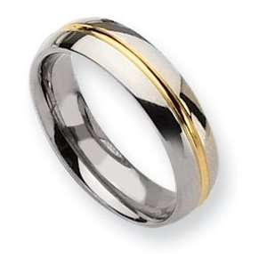 Titanium 14k Gold Plated 6mm Polished Band Ring   Size 13