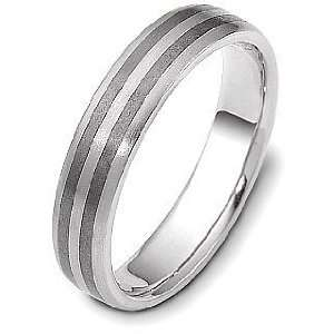 5mm Titanium & 14 Karat White Gold Detailed Wedding Band Ring