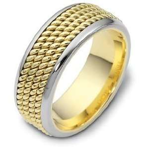 Rope Style 14 Karat Two Tone Gold 8.5mm Comfort Fit Wedding Band Ring