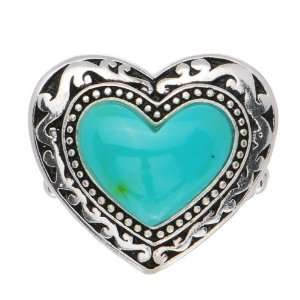 Silver Tone Turquoise Heart Stretch Ring Jewelry