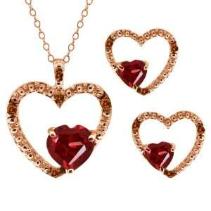 2.07 Ct Heart Shape Red Garnet Gold Plated Silver Pendant