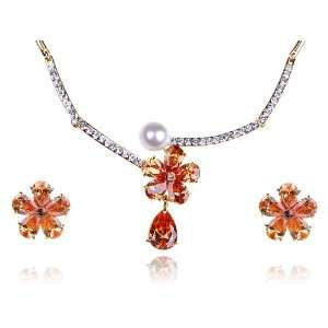 Pearl Bead Swarovski Crystal Earring Necklace Jewel Set Jewelry