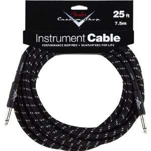 Fender Custom Shop 25 Instrument Cable   Black Musical Instruments