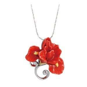 Franz Porcelain Red Iris flower Rhodium plated brass & porcelain