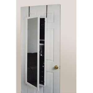 White Framed Wall or Door Jewelry Armoire Mirror in White