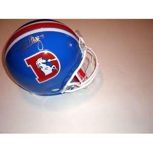 John Elway Autographed/Hand Signed Denver Broncos Throwback Helmet