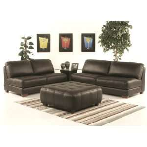 Zen Armless All Leather Tufted Seat Sofa 3 Piece Set in