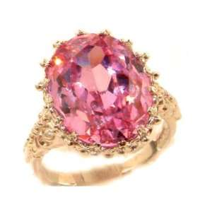 Luxury Solid Rose Gold Large 16x12mm Oval 13ct Synthetic Pink Sapphire