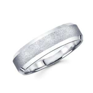 Solid 14k White Gold Ladies Mens Satin Middle With High Polish Ends