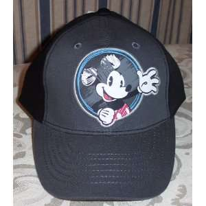 MICKEY MOUSE Puff Print Old Fashioned Style Gray Baseball Cap HAT