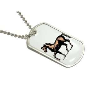 Horse Antique Style   Military Dog Tag Keychain