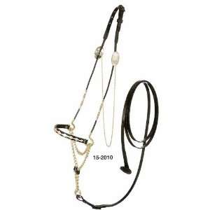 Silver Gold Scallop Nose Mini Horse Show Halter with Lead