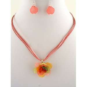Fashion Jewelry ~ Multi Color Flower Pendant Necklace and