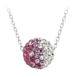 Silver Clear and Pink Crystal Fireball Pendant Necklace, 18 Jewelry
