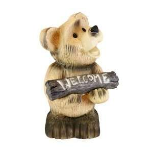 BIG BEAR WITH WELCOME SIGN SOLAR LIGHT Patio, Lawn & Garden