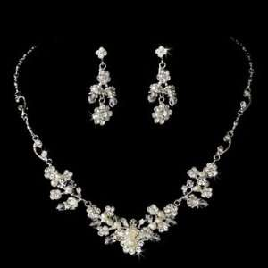 Silver Rhinestone Swarovski Pearl Necklace Earring Set Jewelry