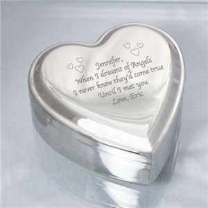 Personalized Silver heart jewelry Box Engraved Keepsake