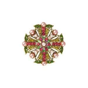 , Pink and Yellow Swarovski Crystal Cross Brooch Accented with Pink