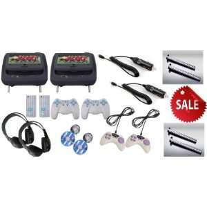 Inch Headrest DVD Player + Gaming System + FM Transmitter (Black