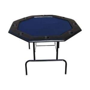 48 Inch Octagon Poker Table w/ Folding Legs   Blue Sports