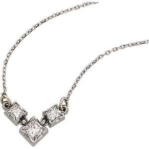 Three Stone Princess Cut Diamond Linked Necklace