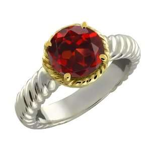 85 Ct Round Red Garnet Argentium Silver 10k Yellow Gold Ring Jewelry