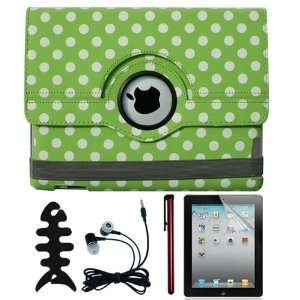 White Polka Dots 360 Rotating Leather Case + Screen Protector + Red